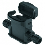 Han-Eco A 10A surface mounted housing, with thermo-plastic cover, integr. cable gland, side entry, 2xM25, outdoor