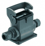 Han-Eco B 10B surface mounted housing, integr. cable gland, side entry, 2xM32, single locking lever