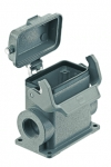 Han 10B surface mounted housing, with metal cover, side entry, 2xM32, single locking lever, high construction