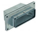Han 10B panel feed through, top entry, 1xM25, central locking lever (on the hood), high construction