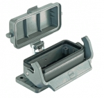 Han 16B bulkhead mounted housing, with self-closing cover, single locking lever