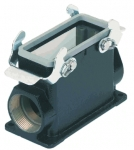 Han M 10B surface mounted housing, side entry, 2xM32, double locking lever, high construction