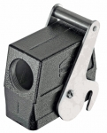Han M 16B protection cover for bulkhead & surface mounted and cable to cable housings, metal, with fixing cord, double locking lever