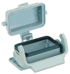Han 16B bulkhead mounted housing, with thermo-plastic cover, single locking lever