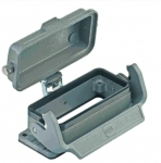 Han 16B bulkhead mounted housing, with metal cover, single locking lever