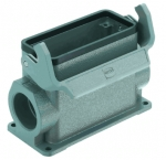 Han 16B surface mounted housing, side entry, 2xM25, single locking lever, high construction