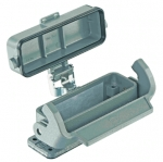 Han 16A bulkhead mounted housing with thermo-plastic cover
