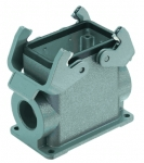 Han 10B surface mounted housing, side entry, 2xM25, double locking lever, high construction