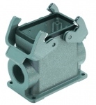 Han 10B surface mounted housing, side entry, 2xM32, double locking lever, high construction