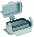 Han 10B bulkhead mounted housing, with thermo-plastic cover, single locking lever