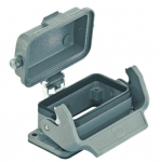 Han 10B bulkhead mounted housing, with metal cover, single locking lever