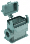 Han 10B surface mounted housing, with thermo-plastic cover, side entry, 2xM32, single locking lever high construction